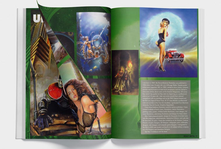 Heavy Metal Magazine published featured gallery pages with Ural Akyuz