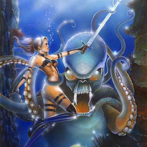 ACRYLICS PAINTING on PAPER. Fantasy Art, Avengelyne, Sword Girl with Giant Octopus - © Ural Akyuz