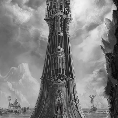 BLACK & WHITE DRAWINGS. Artwork for Shadow Fey, Fantasy Art, Tower - © Ural Akyuz