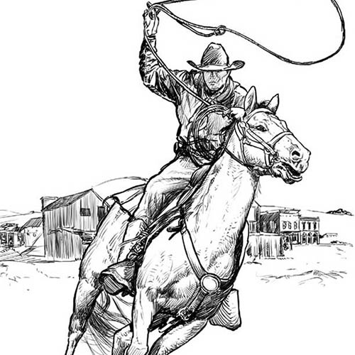 BLACK & WHITE DRAWING with INK. Western Horseman with Lasso - © Ural Akyuz