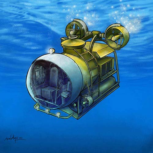 CHILDREN BOOK ILLUSTRATION. Science Experiment Book, interior arts, Submarine - © Ural Akyuz