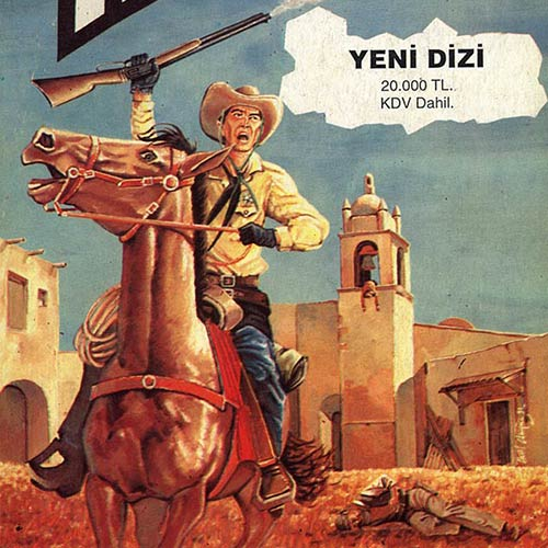 EARLY ART WORKS. Painting on Paper, Teks comic book cover, Wild West, Yeni Dizi - © Ural Akyuz