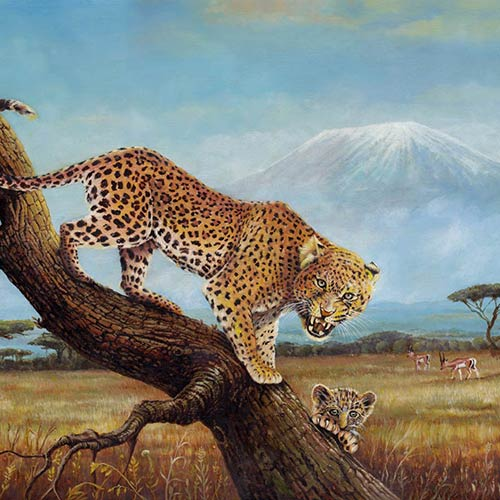 OIL PAINTING on CANVAS, Leopard Family near the Mount Kilimanjaro - © Ural Akyuz