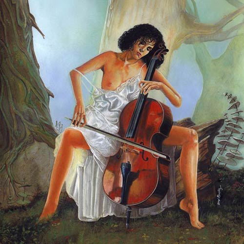 EARLY ART WORKS. Painting on Paper, Viola Girl 1989 - © Ural Akyuz